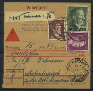 Paketkarte 1943 BERLIN-NEUKOELLN siehe Beschreibung (117530)