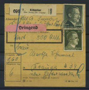 Paketkarte 1943 KITZSCHER siehe Beschreibung (117533)