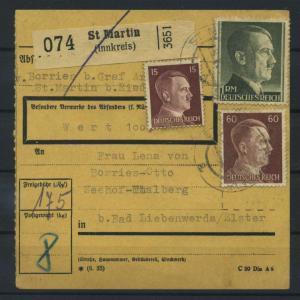 Paketkarte 1943 ST. MARTIN siehe Beschreibung (117535)
