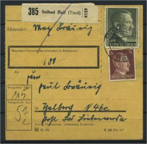 Paketkarte 1943 SOLLBAD HALL siehe Beschreibung (117536)