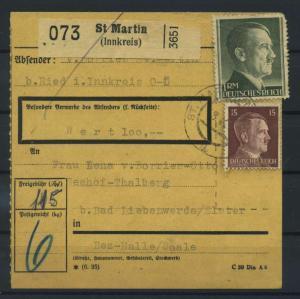 Paketkarte 1943 ST. MARTIN siehe Beschreibung (117537)