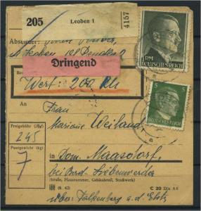 Paketkarte 1943 LEOBEN siehe Beschreibung (117538)