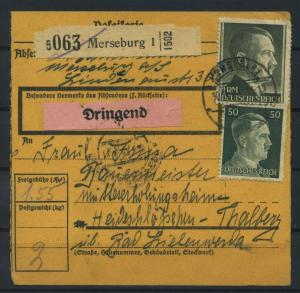 Paketkarte 1943 MERSEBURG siehe Beschreibung (117539)