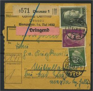Paketkarte 1943 DESSAU 1 siehe Beschreibung (117540)