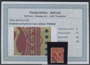 AM-POST 1945 Nr 8 PF: VI gestempelt (87502)
