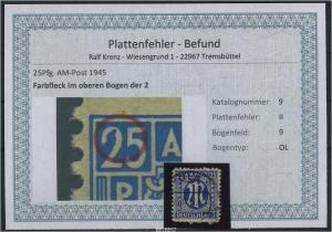 AM-POST 1945 Nr 9 PF: II gestempelt (87472)