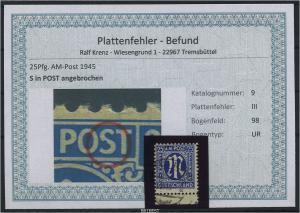 AM-POST 1945 Nr 9 PF: III gestempelt (87464)