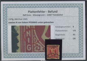 AM-POST 1945 Nr 8 PF: VIII gestempelt (87492)