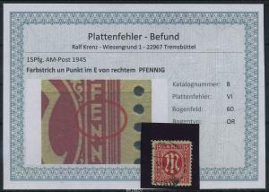 AM-POST 1945 Nr 8 PF: VI gestempelt (87503)