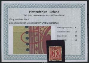 AM-POST 1945 Nr 8 PF: VII gestempelt (87500)