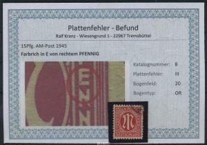 AM-POST 1945 Nr 8 PF: III gestempelt (87512)