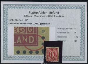 AM-POST 1945 Nr 8 PF: IX gestempelt (87488)
