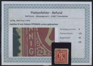 AM-POST 1945 Nr 8 PF: VIII gestempelt (87489)