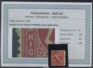 AM-POST 1945 Nr 8 PF: VIII gestempelt (87490)
