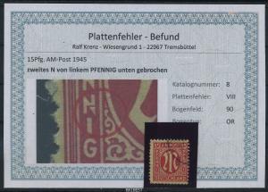 AM-POST 1945 Nr 8 PF: VIII gestempelt (87493)