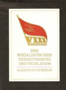 DDR - Gedenktblatt, VIII Parteitag der SED,
