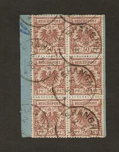 Deutsche Auslandspost China Mi.-Nr. V50 (6X) auf Paketkartenabschnitt.