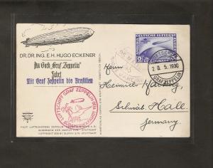 Zeppelin-Karte (Dr.Hugo Eckener) , Südamerika-Fahrt mit Mi.-Nr. 238