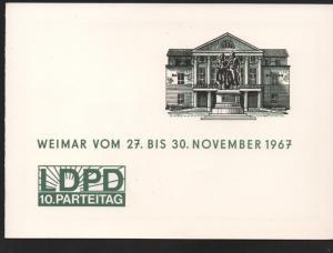 DDR - Gedenktblatt, 10. partaitag LDPD, Weimar 1967