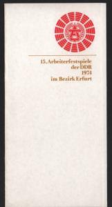 DDR - Gedenktblatt, 15. Arbeiterfestspiele der DDR 1974 im Bezirk Erfurt.