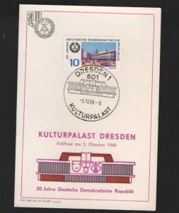 DDR - Gedenktblatt, 20 Jahre DDR, Kulturpalast Dresden 1969