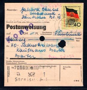 DDR Postanweisung mit EF. Mi.-Nr. 727