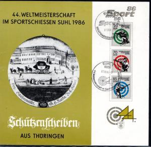 DDR - Gedenktblatt, 44 Weltmeisterschaft im Sportschiessen Suhl 1986