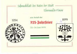 DDR - Gedenktblatt  725-Jahrefeier Eberswalde-Finow