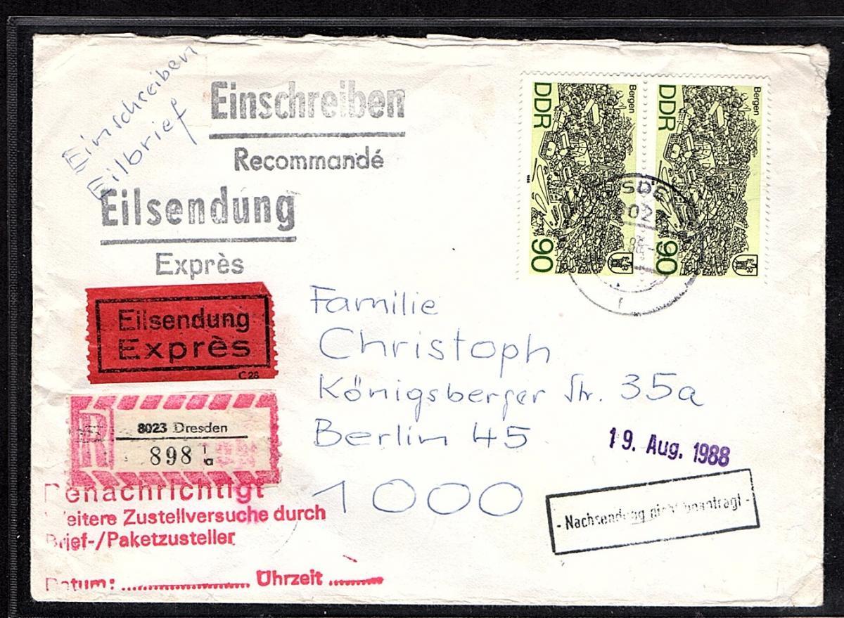 DDR. R-Eilbote-Brief mit MeF.. Mi.-Nr. 3165, Ak-Stempel. 0