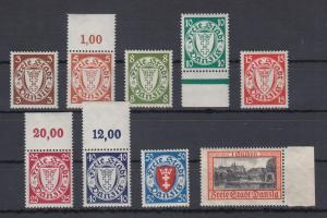Danzig 1938-39 Freimarken mit Wz. 5 Mi.-Nr. 289-97 kpl. Satz 9 Werte **