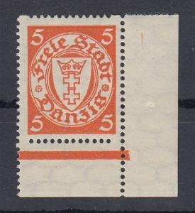 Danzig 1932 Wappen Rollenzähnung Mi.-Nr. 193Dy Eckrandstück UR **