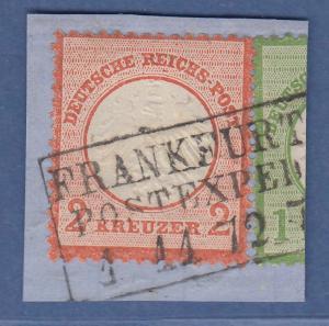 Dt. Reich kleiner Brustschild 2 Kreuzer Mi.-Nr. 8 auf Briefstück, O FRANKFURT