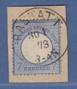 Dt. Reich großer Brustschild 7 Kreuzer Mi.-Nr. 26 gestempelt RASTATT  gepr.