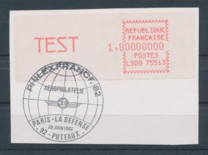 Frankreich ATM Crouzet LS09 75513, TEST 1,80000000 gest. auf Briefstück.