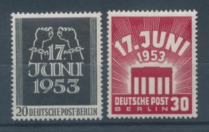 Berlin 1953, Volksaufstand DDR 17.Juni 1953, kpl. Satz Mi.-Nr. 110-111 **