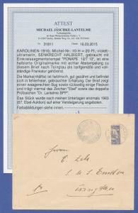Deutsche Kolonien Karolinen Ponape-Provisorium auf Brief, mit BPP-Fotoattest