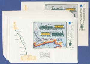 Finnland 1987, Eisenbahn-Block Set 8 FDC's mit Stempeln aller 7 Orte der Strecke
