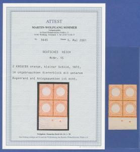 Dt. Reich Kleiner Brustschild, Mi.-Nr. 15 Luxus-Viererblock mit Unterrand **