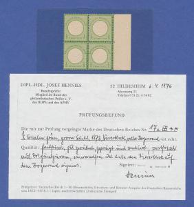 Dt. Reich großer Brustschild, Mi.-Nr. 17a Luxus-Viererblock mit Seitenrand **