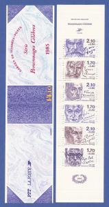 Frankreich 1985 Personnages célèbres, gez.15, MH komplett ** Mi.-Nr. 2484-89 C
