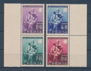 Dt. Besetzung 2.WK, Serbien 1942 , Mi.-Nr. 82-85 ** in 2 senkrechten Paaren