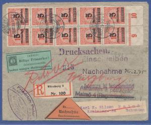 Dt. Reich Infla Mi.-Nr. 334 und 335 vielfach auf R-NN-Brief n. Schweden. RETOUR