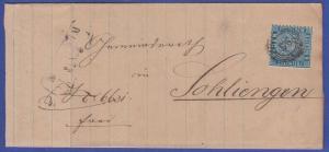 Baden Mi.-Nr. 14 b  als EF auf Brief  gel. von MANNHEIM nach Sohliengen