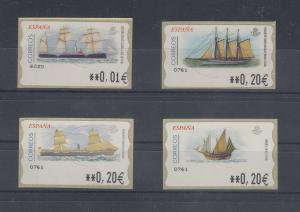 Spanien ATM Schiffe, 4 Motive kpl. Wert in € 5-stellig schmal Mi.-Nr. 83-86