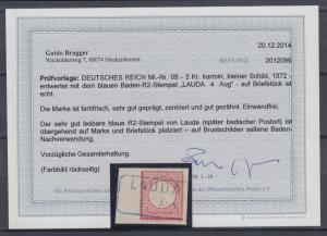 Dt. Reich kleiner Brustschild, Mi.-Nr. 9 mit blauem Baden R2-Stempel LAUDA