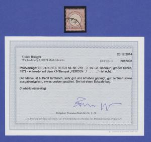 Dt. Reich großer Brustschild Mi.-Nr. 21, seltene b-Farbe gestempelt, Befund BPP