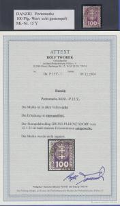 Danzig Portomarke 100Pfg-Wert Mi.-Nr. 15Y echt gestempelt, gepr. Attest Tworek