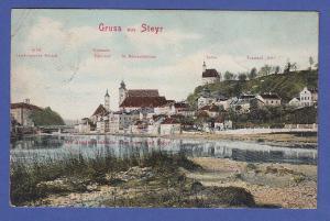 AK Österreich Gruß aus Steyr,  gel. 1908