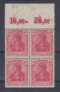 Dt. Reich Germania Mi.-Nr. 145 IIa 4er-Block P OR oben abgeflachte Reihenzähler