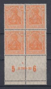 Dt. Reich Germania Mi.-Nr. 141 4er-Block mit HAN auf Unterrand-Leerfeldern !!